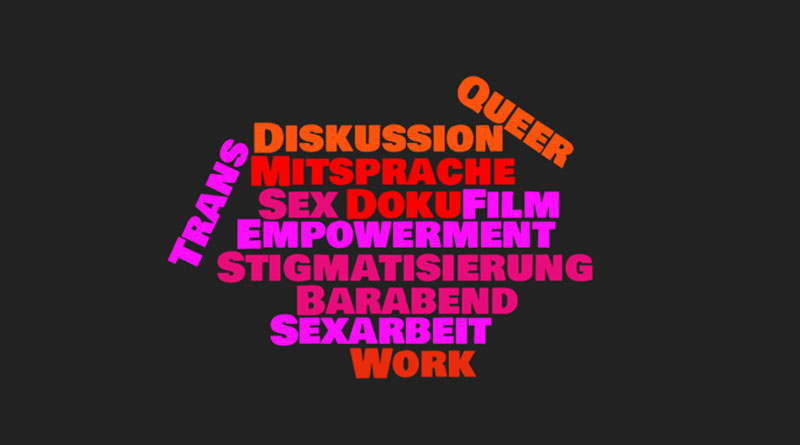 word-cloud mit worten zu queerer sexarbeit